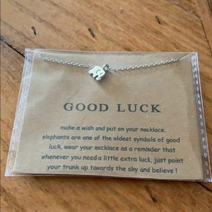"""Silver """"Good Luck """" elephant necklace"""